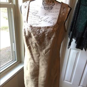 Talbots suede tan dress size 12